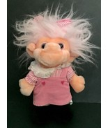 Vtg Trolio Trolls Plush Doll Pink Hair Corduroy Jumper Dress Stuffed Toy... - $13.85