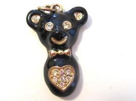 Lovely vintage jewelry goldtone enamel bear pendant - $3.00
