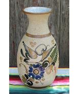 Vintage Tonala Vase Mexican Folk Art Ceramic Pottery Dove Bird Signed - $45.00