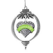 Inspired Silver Lime Green Class of 2018 Pave Heart Holiday Christmas Tr... - $14.69