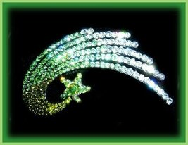 Hair Barrette Shooting Star Ice Green Crystals,... - $24.99