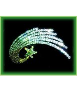 Hair Barrette Shooting Star Ice Green Crystals, Blackened Metal New Exqu... - $24.99