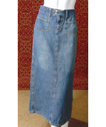 JALATE med blue cotton denim straight pencil below knee skirt Jr 3/4 (T0... - $14.83