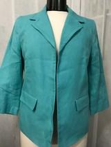 Talbots Women's Blazer Teal 3/4 Length Sleeve Linen Blazer Size 8 NWT - $59.39