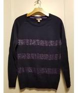 Banana Republic Embellished Raglan Sweater Navy 100%Cotton Size M Pre-owned - $22.82