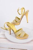 Cole Haan Women's Vanessa N Air Sandals Sz 7 Platforms Pumps Yellow Ankle Strap - $49.49