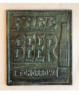 Cast Iron FREE BEER Sign Plaque Wall Mount Antique Bronze - $18.80