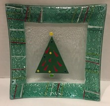 Gorham Christmas Splendor Fused Glass Square Tree Plate Raised 3D  - $14.84