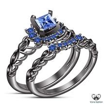 Princess Cut Blue Sapphire Women's Bridal Ring Set Black Gold Finish 925 Silver - $92.99