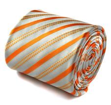Frederick Thomas Orange and White Striped Mens Wedding Tie RRP£19.99 FT1425