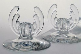 Pair Heisey Crystolite 1503 Elegant Clear Glass Single Candle Holder - $24.63