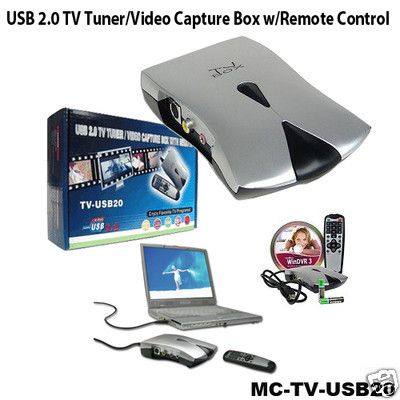 Sabrent TV-USB20 USB 2.0 TV Tuner/Video Capture Box w/Remote Control USED