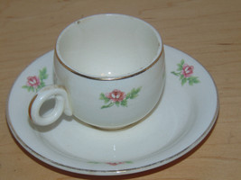 Vintage Homer Laughlin Miniature Cup & Saucer Roses On Both-Kitchen - $3.99