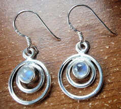 Small Rainbow Moonstone Earrings in Double Hoops 925 Sterling Silver Dangle New - $22.72