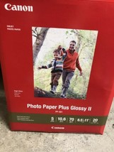 "NEW Canon Inkjet Photo Paper Plus Glossy II PP-301 20 Sheets 8.5"" x 11"" - $9.89"