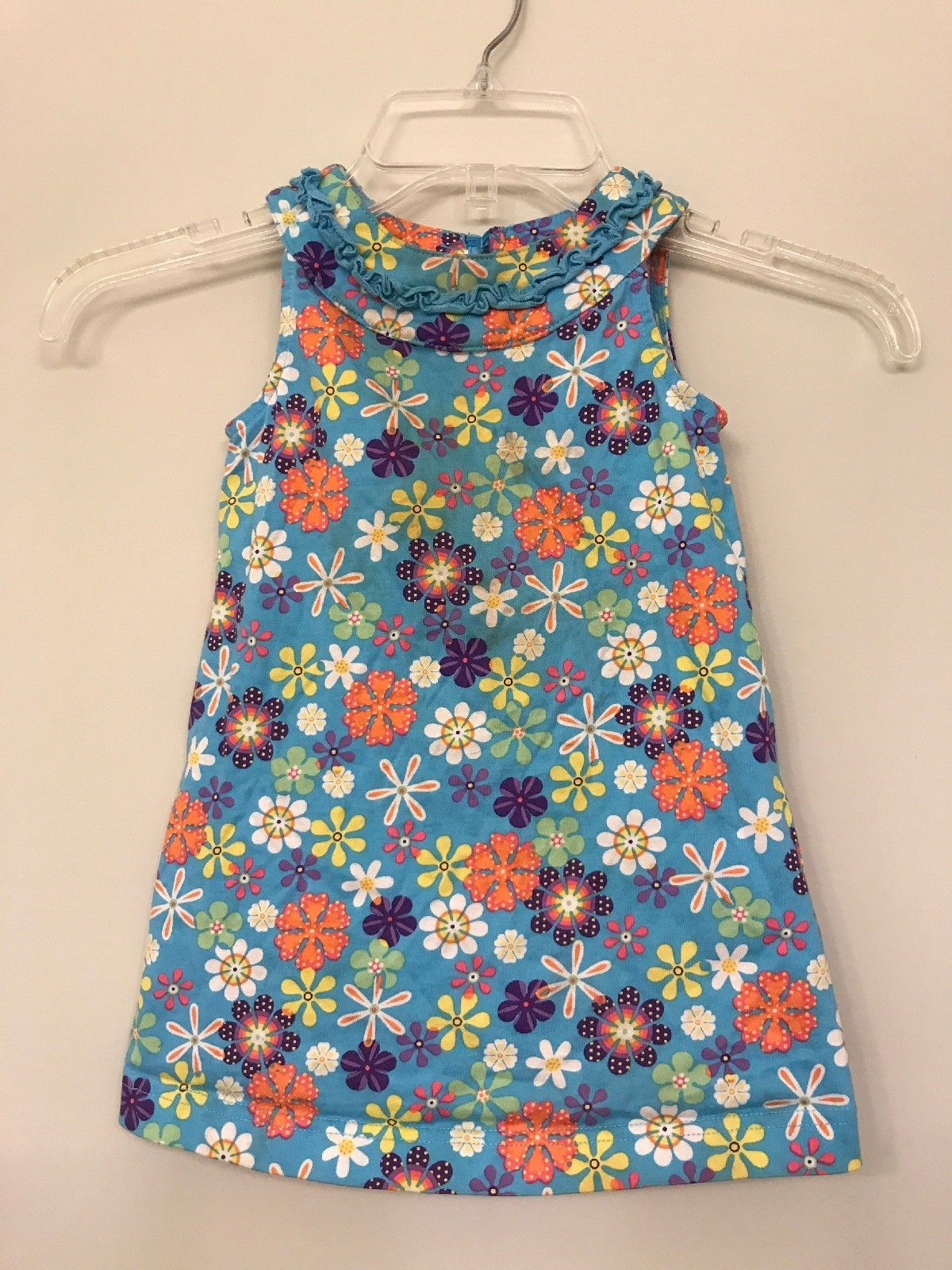 Primary image for Hanna Andersson Girls Dress Blue Floral Print Jumper Size 80 (18-24 Months)