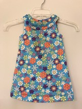 Hanna Andersson Girls Dress Blue Floral Print Jumper Size 80 (18-24 Months) - $11.88
