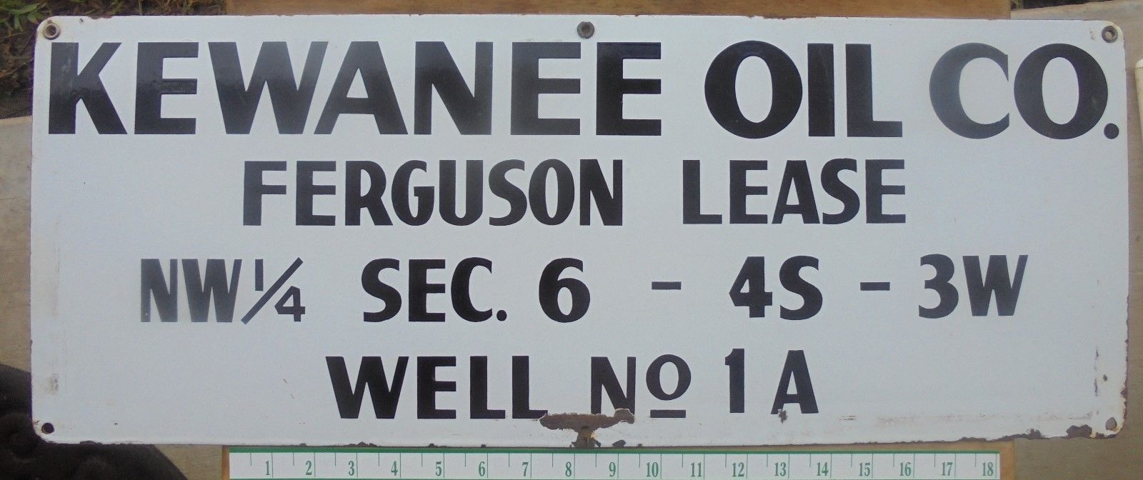 Primary image for RARE KEWANEE OIL CO. PORCELAIN OIL WELL GAS OILFIELD LEASE SIGN