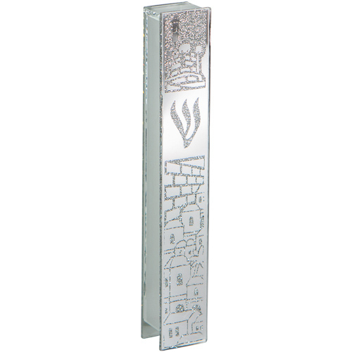 Judaica Mezuzah Case Sparkling Silver Glass SHIN Jerusalem Old City View 12 cm