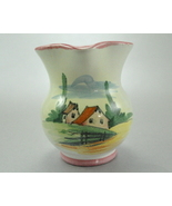 Glazed Clay pottery Creamer Pitcher Italy 7819 Country Scene - $5.25