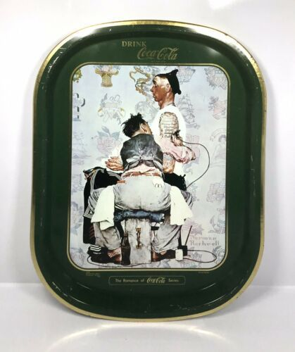 "Primary image for Vintage Barratt & Sons Coca Cola Tin Tray ""After The Tattoo Artist""  16"" x 12.5"""
