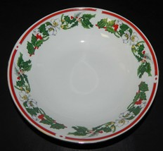 St Maria Lynns Fine China Round Serving Bowl Christmas Holly Berry Red Band - $32.66