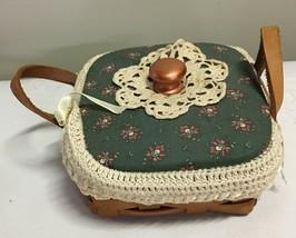 Longaberger Sweet Basil Basket CUSTOM COVERED LID & Crocheted Liner, Pro... - $26.46