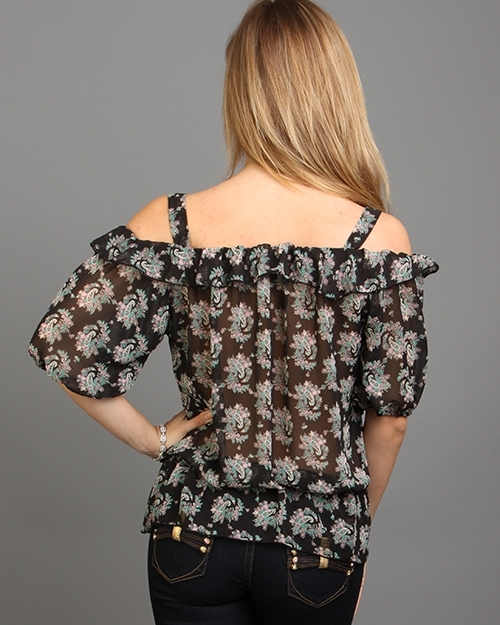 Floral Peekaboo Top With Synched Waist Off Shoulder