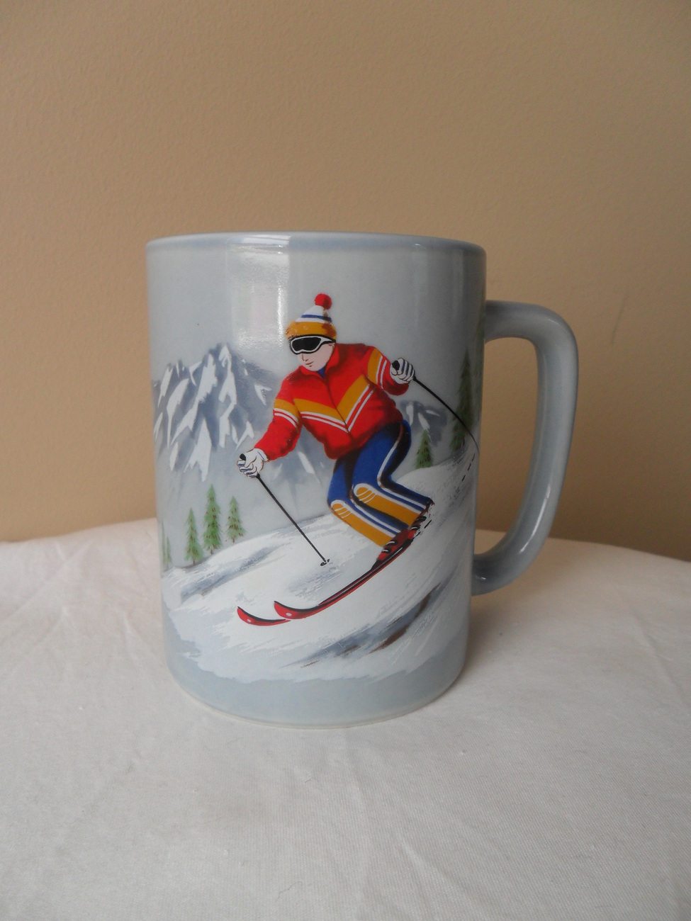 Primary image for VINTAGE OTAGIRI MUG/CUP DOWNHILL SKIER HANDPAINTED JAPAN