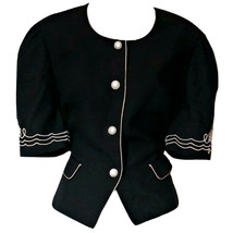 Vintage Nautical Top Pearls Button Black 80s Pearl Retro 50s Pin Up Size... - $24.17