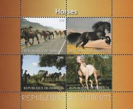Horses Running Landscape Highway Souvenir Sheet of 4 Stamps Mint NH - $15.06