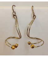 Gold Beaded Sterling Silver Wire Earrings Twist... - $68.00