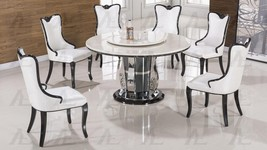American Eagle Furniture DT-H62 Marble Top Round Table White PU Chairs Set 5 Pcs