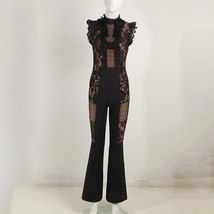 Summer Runway Fashion Sleeveless Black Lace Mesh Illusion Designer Jumpsuit image 2