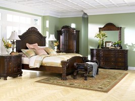NORTH SHORE - 5pcs Traditional Cherry Queen King Mansion Marble Bedroom Set New