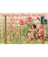 Spring Brings Beauty and Flowers Garden Cherubs Cupid Fairies Fairy Metal Sign - $24.95