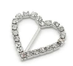 Heart Rhinestone Silver Buckle Embellishment, 1... - $7.91