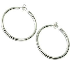 "925 STERLING SILVER CIRCLE HOOPS BIG EARRINGS, 6 cm x 4 mm (2.4"" X 0.15"") SMOOTH image 1"