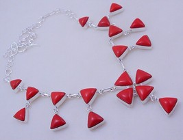 Coral Silver Overlay Handmade Jewelry Necklace 62 Gr. F-288  /6 - $18.00