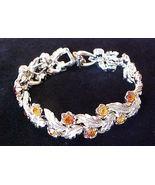 Vintage Coro Golden Rhinestone Feather Bracelet - $8.95