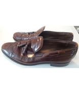 ALLEN EDMONDS Berwick Chestnut Brown Leather Brogue Tassel Loafers MENS ... - $33.30