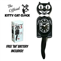 """BLACK KITTY CAT CLOCK (3/4 Size) 12.75"""" Free Battery MADE IN USA Kit-Cat... - $39.99"""