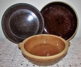 Set of 3 Yellow Stone Ware Bowls Pie Plates Dishes Casserole Primitive C... - $23.71