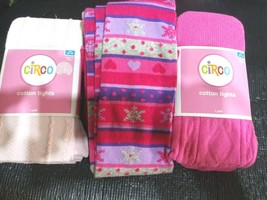 CIRCO Girls Winter Cotton Tights Pink Size 12-14 Lot of 3 light pink  he... - $27.99