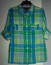 NWT Tommy Hilfiger Women`s Shirt L 12 14 Top Blouse Plaid Button Down 3/4 New - $29.65