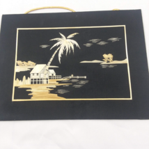 Chinese Wheat Stalk Cutting Art AC020 Palm Tree Island Scene  - $31.50
