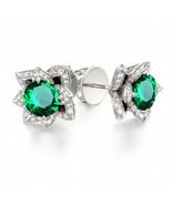 14K White Gold Over 925 Silver Emerald & Sim Diamond Lotus Flower Stud E... - $69.99