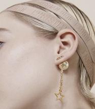 Authentic Christian Dior 2019 CD LOGO CHAIN STAR DANGLE DROP Earrings image 13