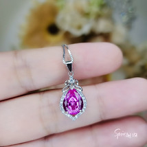 Teardrop Pink Tourmaline Necklace Diamond Halo Pink Gemstone Pendant Ste... - $59.00