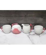 Seltmann Weiden Germany MId Century Atomic Pink Handle White Cups Sugar ... - $33.66